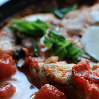Baked Chicken with Creamy Tomato and Basil Sauce.