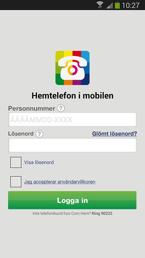 Hemtelefon i mobilen- screenshot