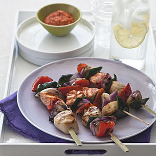 Salmon and Scallop Skewers With Romesco Sauce.