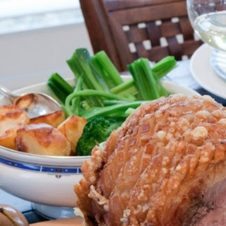 ROAST LEG of PORK with PEAR and SAUSAGE STUFFING BALLS Recipe