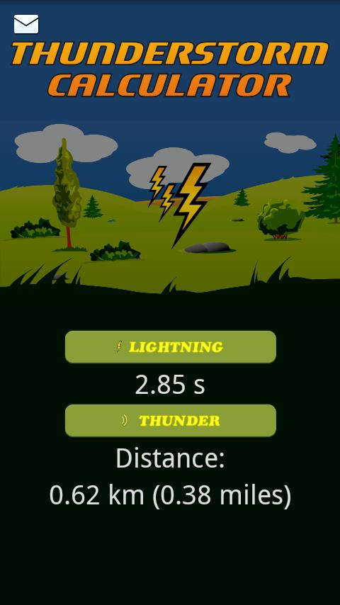 Thunderstorm calculator - screenshot