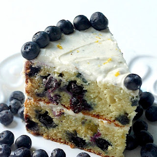 Blueberry Layer Cake with Lemon Buttercream Frosting.