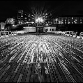 Cromer Pier by Night by Dave Angood - Black & White Buildings & Architecture ( lights, cromer, norfolk, pier, coastal, decking )