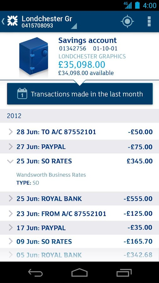 RBS Business Banking - screenshot