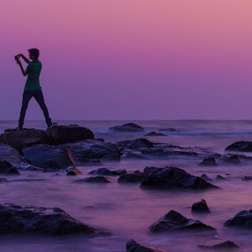 Photographing alone - Best to capture Great shots by Charanjit Singh - Landscapes Beaches ( photograph, sunset, beautiful, long exposure, beach, rocks )