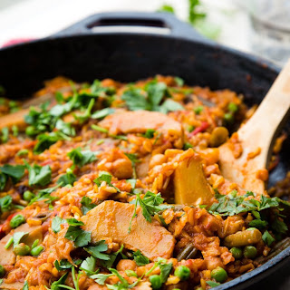 Vegetable Paella with Chickpeas.