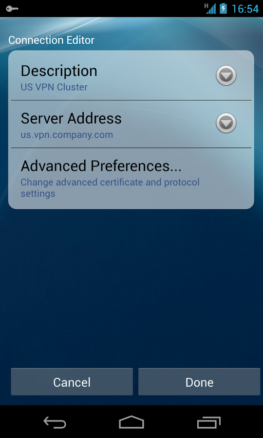 AnyConnect ICS+ - screenshot