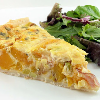 Roasted Butternut Squash, Prosciutto, and Sage Quiche.