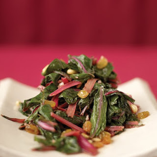 Sauteed Swiss Chard with Raisins and Pine Nuts.