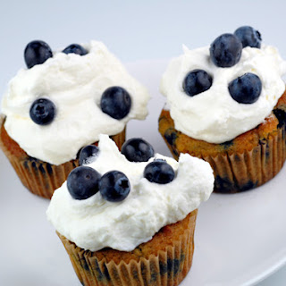 Blueberries and Cream Cupcakes.
