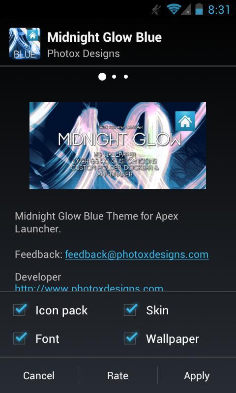 MG Blue Apex Theme- screenshot