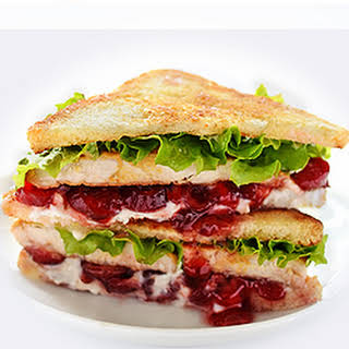 Cranberry Cream Cheese Turkey Sandwich.