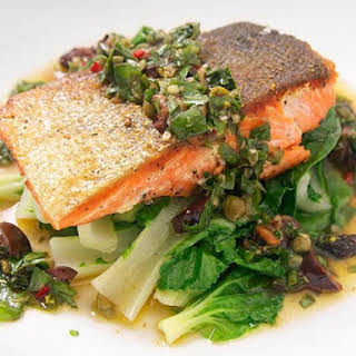 Crispy Salmon with Steamed Bok Choy and Basil-Caper Relish.