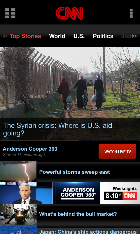 CNN App for Android Phones - screenshot