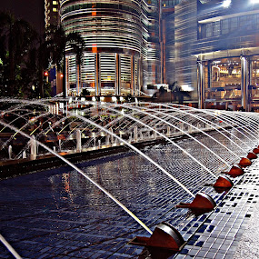 KLCC by night by Omrin Kamarudin - City,  Street & Park  Fountains