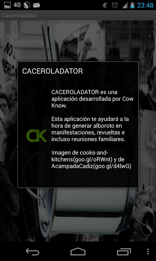 Caceroladator- screenshot