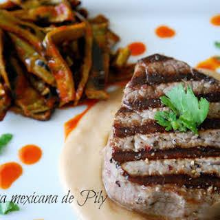 Beef Steak with Nopales.