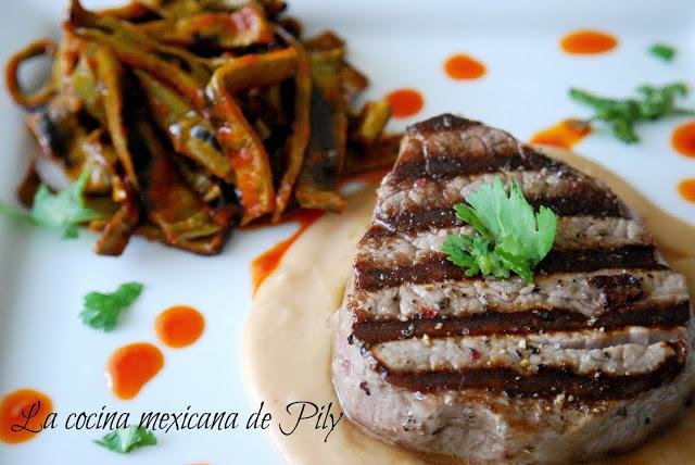 Beef Steak with Nopales Recipe