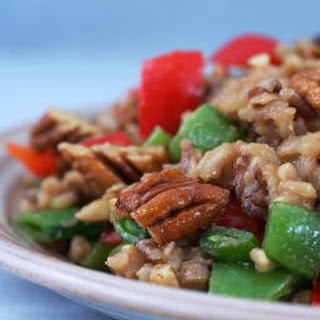 Brown and Wild Rice Salad with Snow Peas (or Sugar Snap Peas) and Peppers.