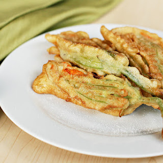 Pan-fried Zucchini Flowers With Ricotta And Fresh Herbs.