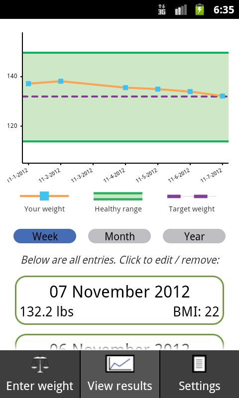 Track my weight- screenshot