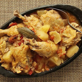 Colombian Chicken Stew with Potatoes, Tomato, and Onion.