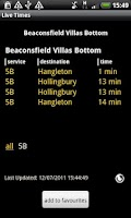 Screenshot of Brighton & Hove Bus Times