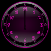 Sleek Ebony Pink Clock Widget