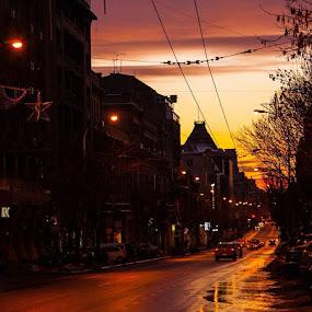 Sunset lines in Bucharest by Matei Edu - City,  Street & Park  Street Scenes ( january, bucharest, ig_romania, photography, amazing, boulevard, canon, romania, urban, twilight, traffic, cars, infinity,  )