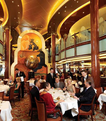 Cunard-Queen-Elizabeth-Britannia-Restaurant - Enjoy British cuisine in an elegant atmosphere at the Brittania Restaurant aboard Queen Elizabeth.
