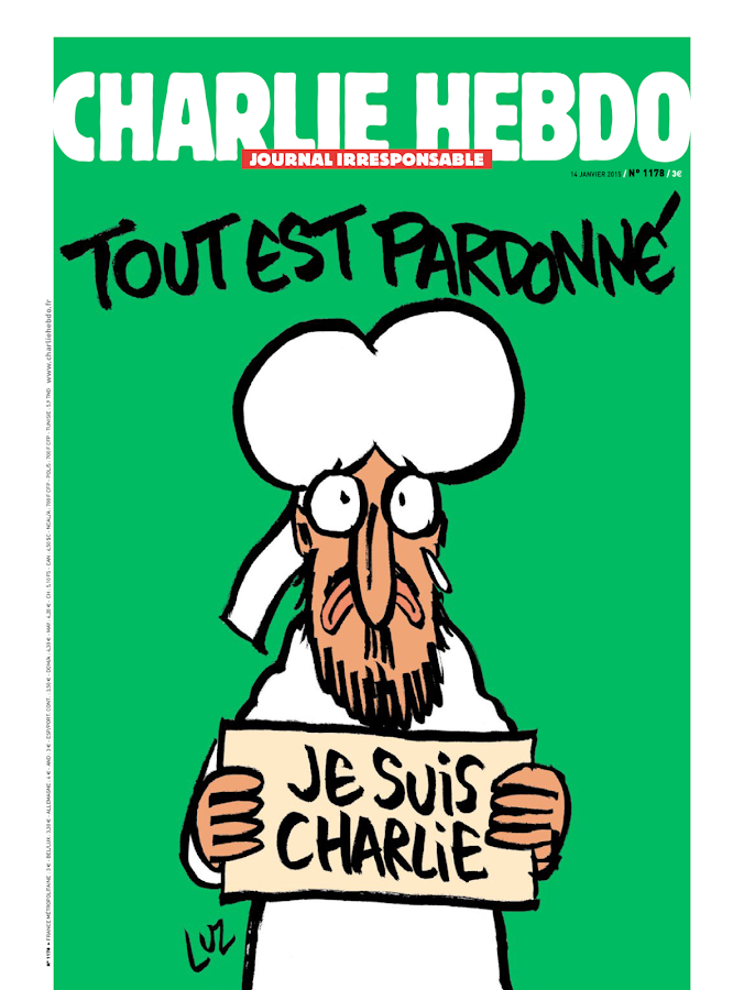 Год расстрела Charlie Hebdo: спецномер отметился карикатурой на Бога