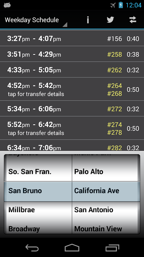 Caltrain Droid- screenshot