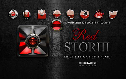 Next Launcher Theme Red Storm