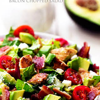 Avocado, Chicken and Bacon Chopped Salad with a Creamy Basil Dressing.