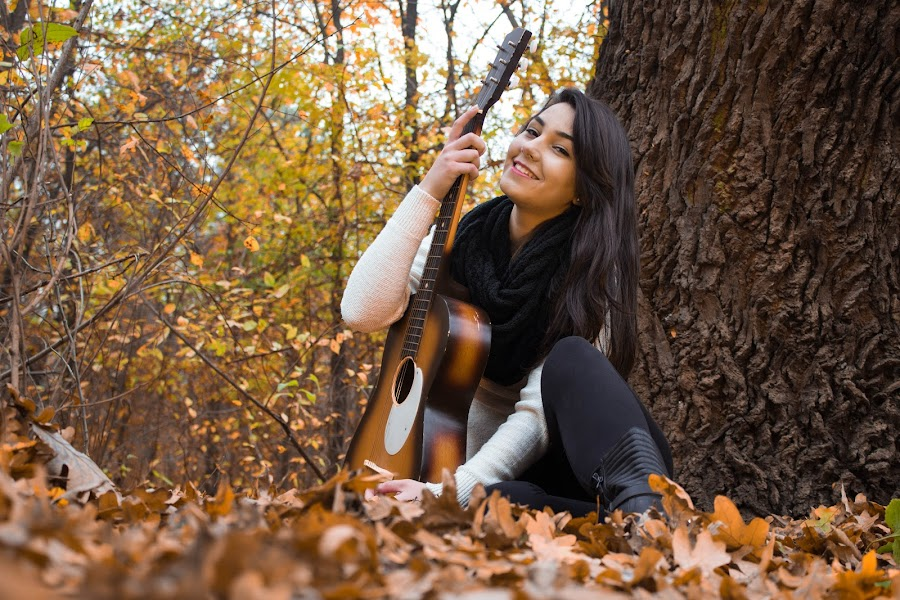Beautiful autumn . by Daniel MV - People Musicians & Entertainers ( girl, tree, autumn, beautiful, carpet, guitar, leaf, smile, hair,  )