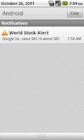 Screenshot of World Stock Alert Widget