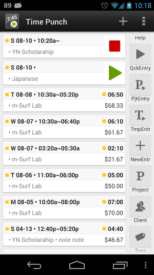 Time tracker, TimePunch Demo - screenshot
