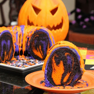 Amazing Halloween Rainbow Party Bundt Cake.