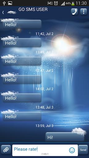 GO SMS Blue Mist Theme