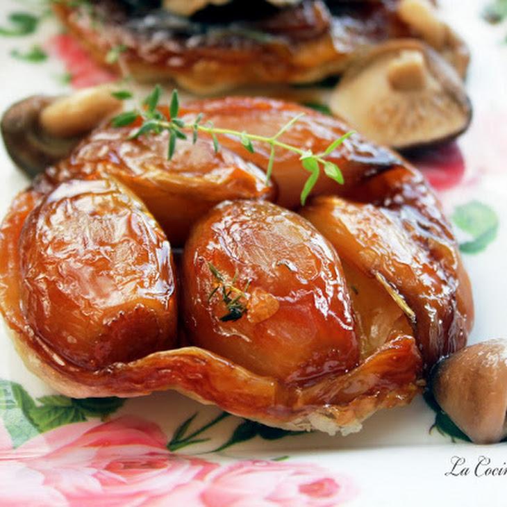 Upside-down Shallot and Mushroom Tartlets