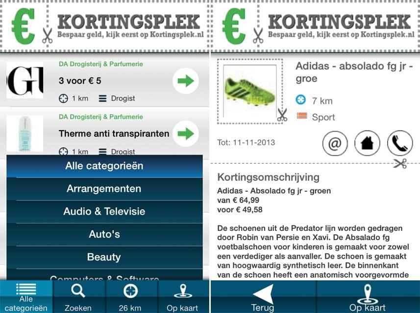 Kortingsplek- screenshot