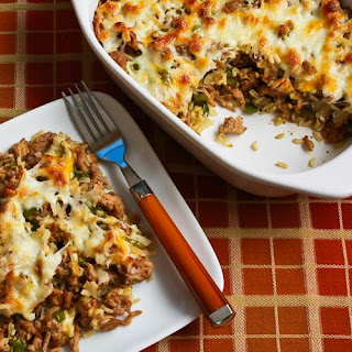 Easy Brown Rice Casserole with Turkey Italian Sausage and Green Bell Pepper.