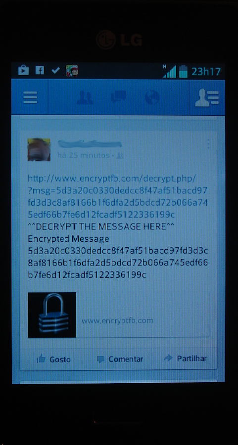 Facebook Status Encrypt - screenshot