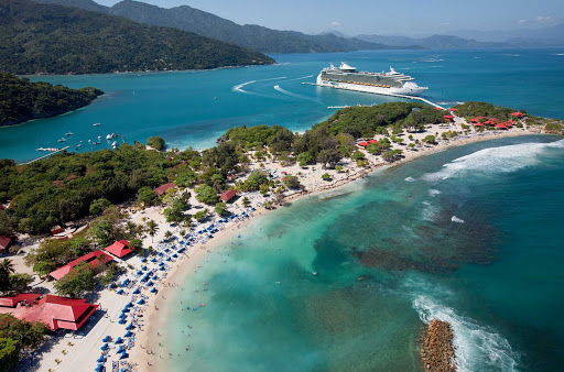 Freedom-of-the-Seas-Labadee-aerial - Freedom of the Seas docks at Royal Caribbean's beautiful private resort in Labadee, Haiti.