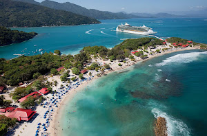 Freedom of the Seas docks at the beautiful private resort in Labadee, Haiti.