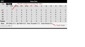 Screenshot of Team Basketball Stats Tracker