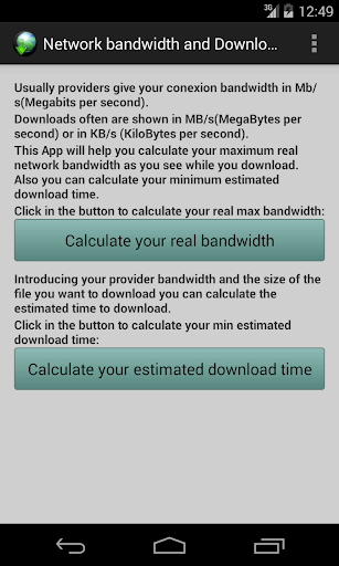 Net bandwidth Download time