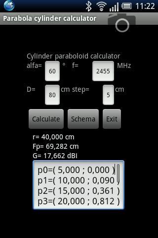 Parabola cylinder calculator