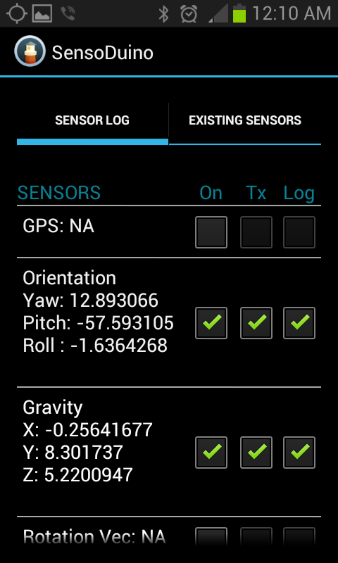 SensoDuino - screenshot