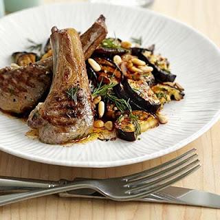 Lamb Chops With Smoky Aubergine Salad.